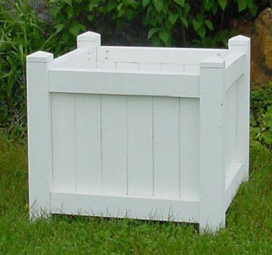 D004pw 24 Cube Planter Painted White