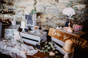 wooden display crates for rustic wedding venue
